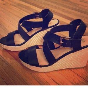 NY & Company black espadrille wedge sandals